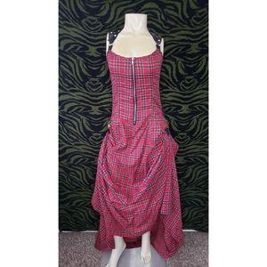 Red & black plaid halter maxi bustle dress